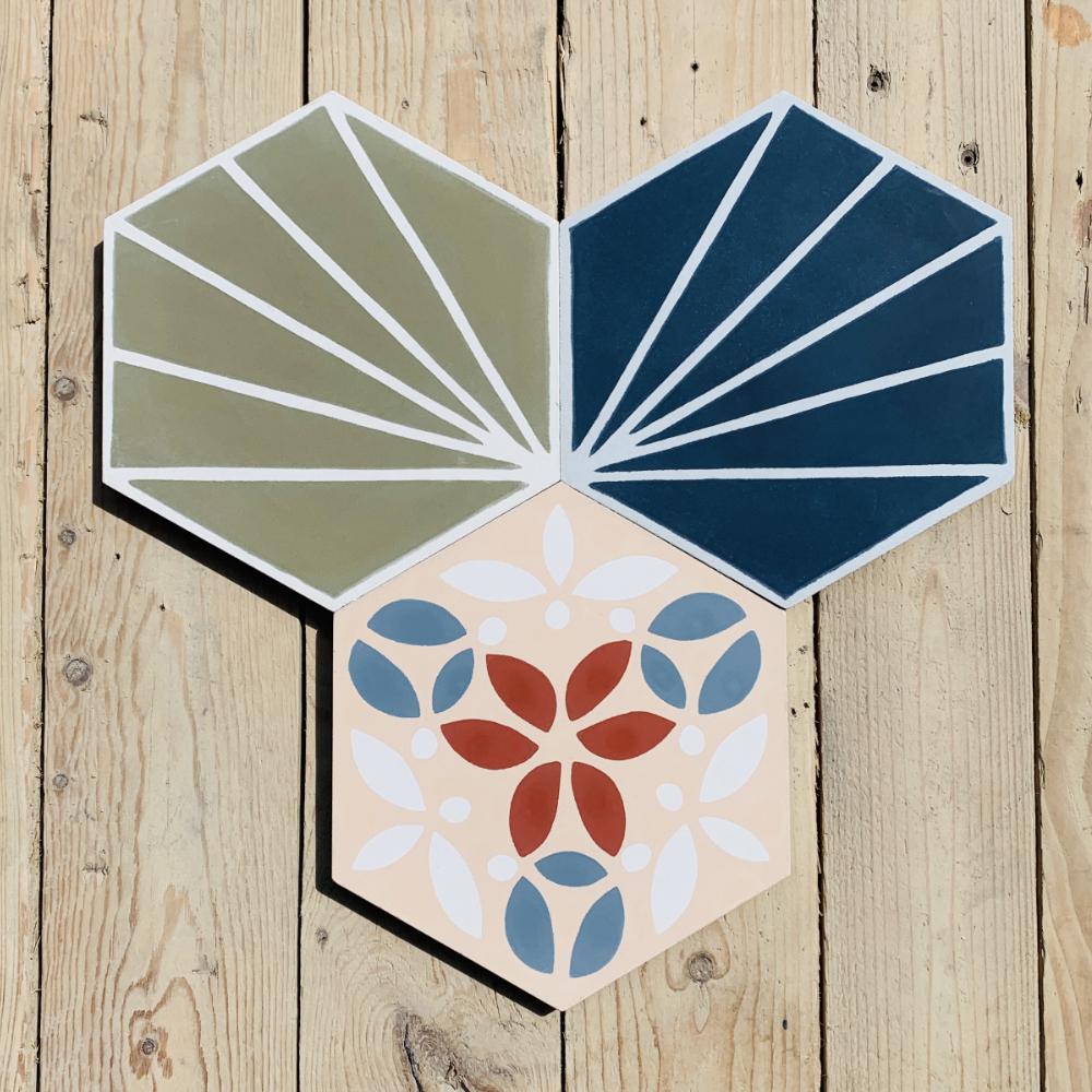 other sizes Hexagonal cement tiles