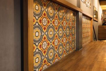 articima cement tiles ref. 501 as wall tiles in a restaurant