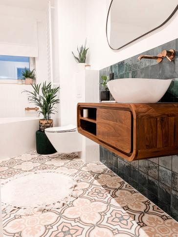 Cement tiles ref. no. 3371 | elegant bathroom