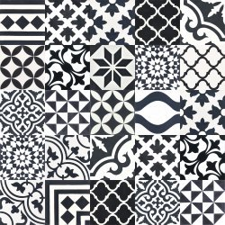 cement tiles patchwork | black and white