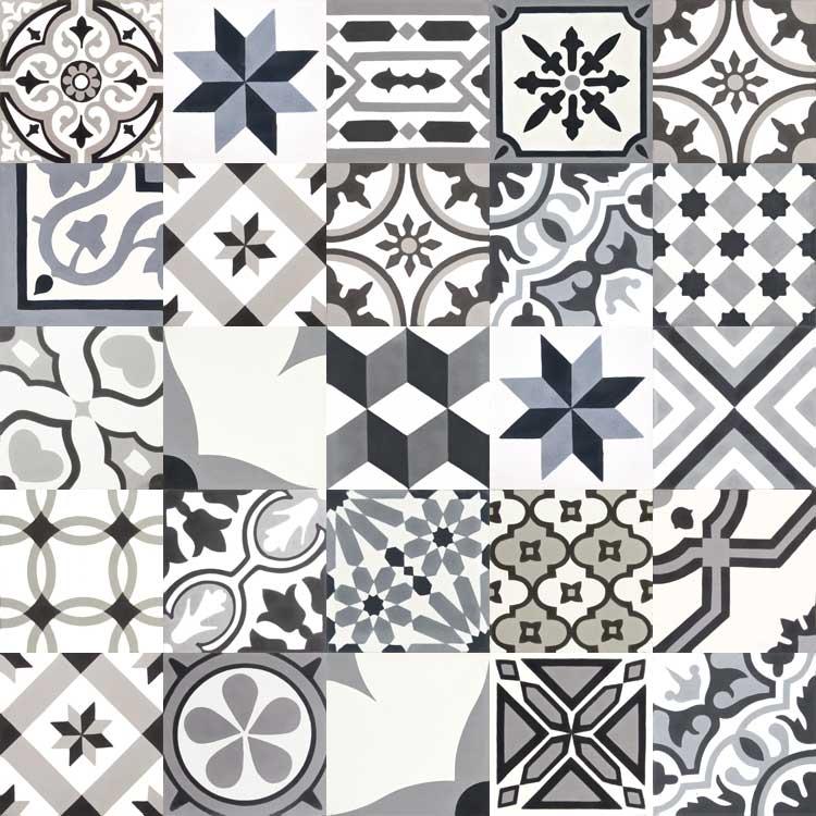 cement tiles patchwork | black, white, grey